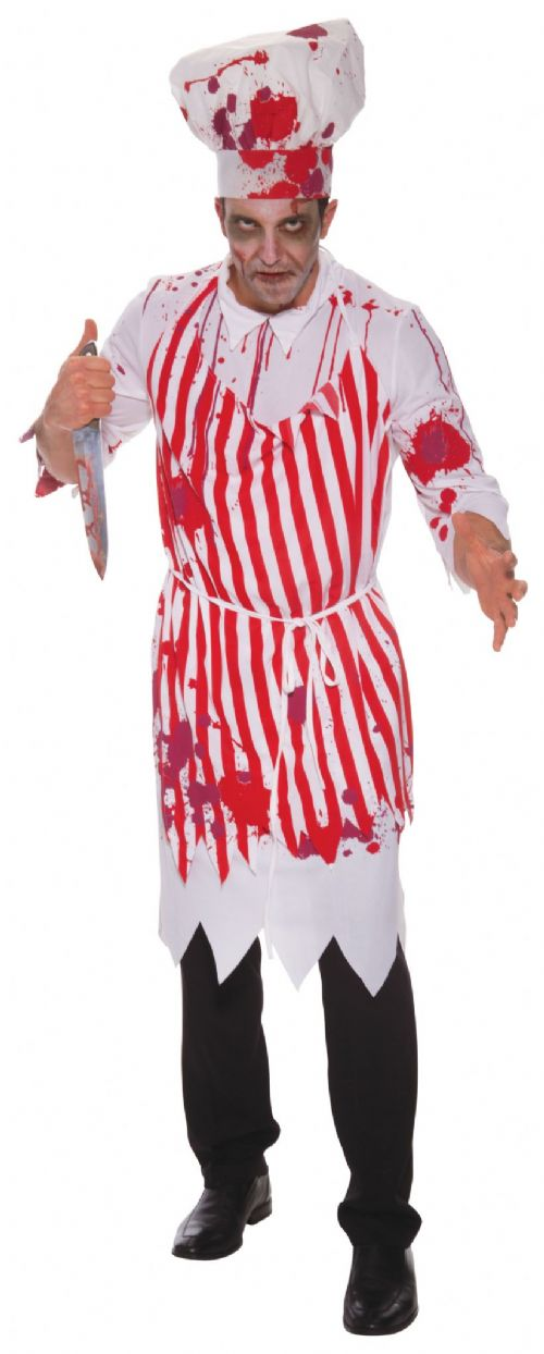Mens Butcher Bloody Costume Bleeding Wound Vampire Fancy Dress Outfit